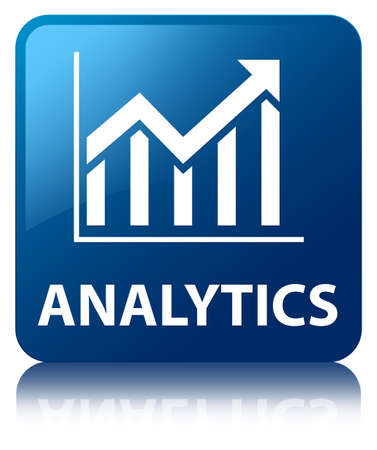 analytics: Analytics  statistics icon  glossy blue reflected square button
