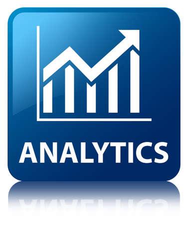 Vierkante knop Analytics statistieken pictogram glanzend blauw gereflecteerd