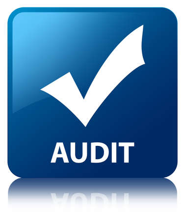 Audit  validation icon  glossy blue reflected square button photo