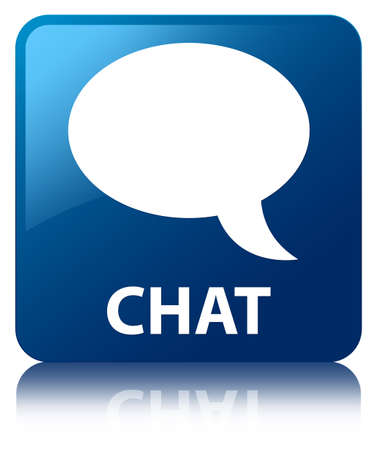 Chat  talk bubble icon  glossy blue reflected square button photo