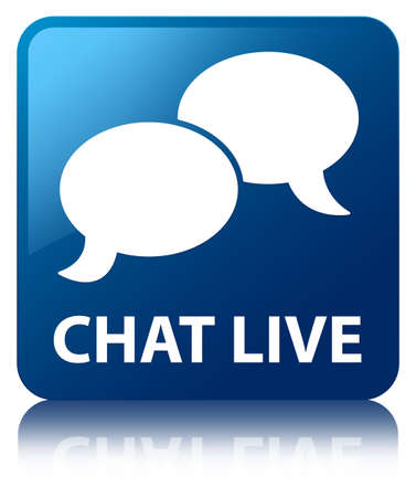Chat live glossy blue reflected square button photo
