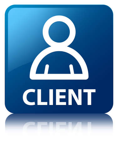 Client  member icon glossy blue reflected square button photo