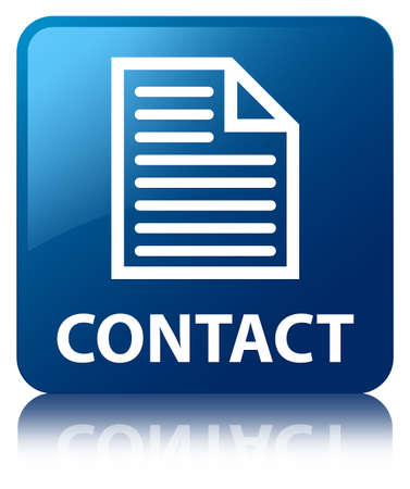 Contact  page icon  glossy blue reflected square button photo