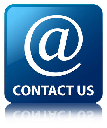 Contact us  email address icon  glossy blue reflected square button photo