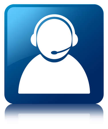 Customer care icon glossy blue reflected square button photo