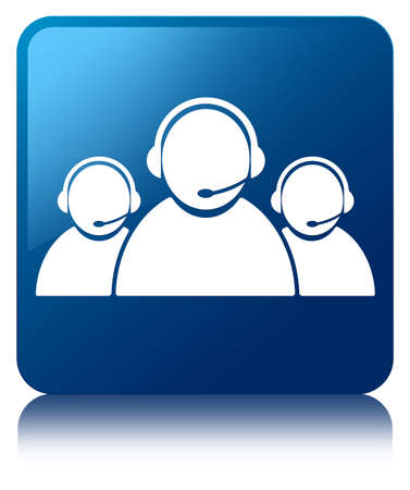 contact person: Customer care team icon glossy blue reflected square button