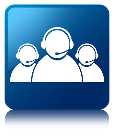 Customer care team pictogram glanzend blauw weerspiegeld vierkante knop