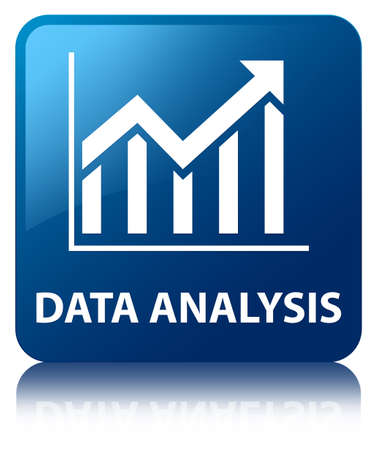 Data analysis  statistics icon  glossy blue reflected square button photo