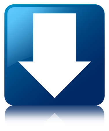 reflected: Download arrow glossy blue reflected square button