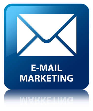E-mail marketing glossy blue reflected square button photo