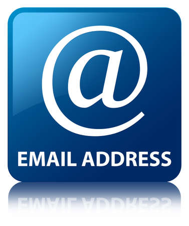 Email address glossy blue reflected square button photo