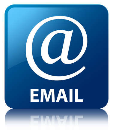 Email  email address icon  glossy blue reflected square button Stock Photo