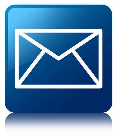 Email icon glossy blue reflected square button photo