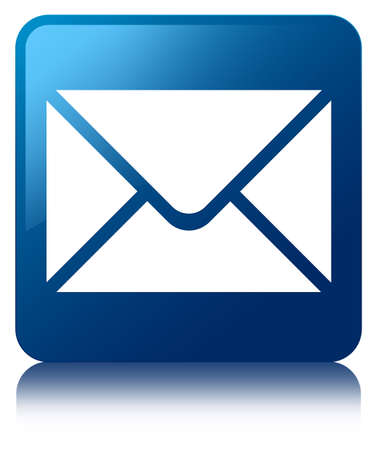 inbox icon: Email icon glossy blue reflected square button