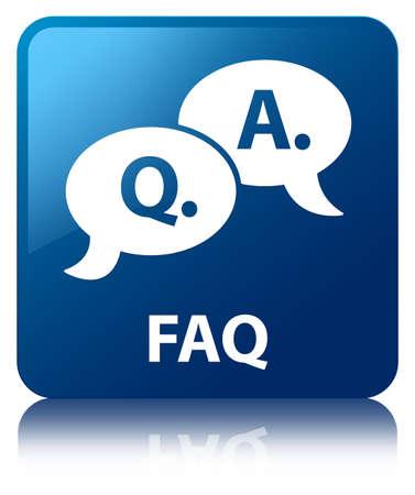 Vierkante knop faq vraag antwoord zeepbel pictogram glanzend blauw gereflecteerd