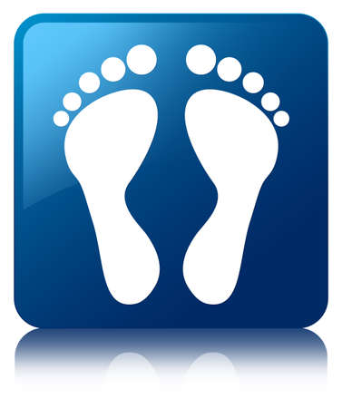 Footprint icon glossy blue reflected square button Stock Photo - 22231040