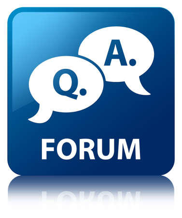 Forum  question answer bubble icon  glossy blue reflected square button photo