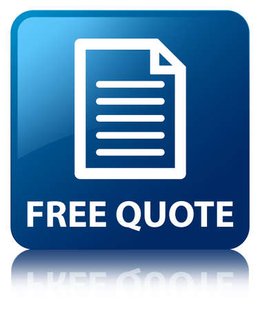 Free quote  page icon  glossy blue reflected square button photo