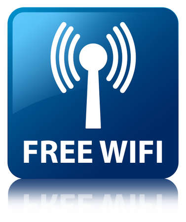 wlan: Free wifi  wlan network icon  glossy blue reflected square button Stock Photo