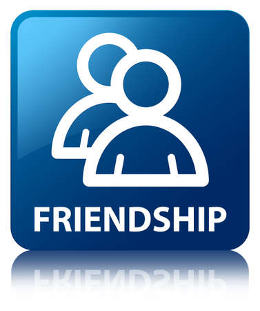 Friendship  group icon  glossy blue reflected square button photo