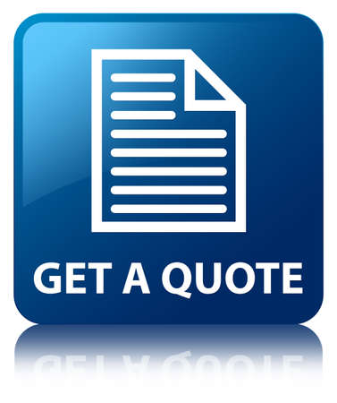 quotation: Get a quote  document icon  glossy blue reflected square button Stock Photo