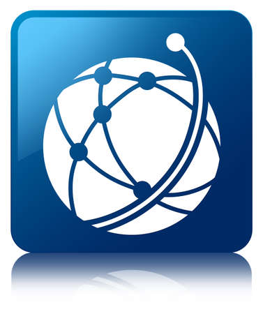 Global network icon glossy blue reflected square button photo