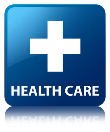 Health care glossy blue reflected square button photo