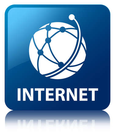 reflected: Internet  global network icon  glossy blue reflected square button
