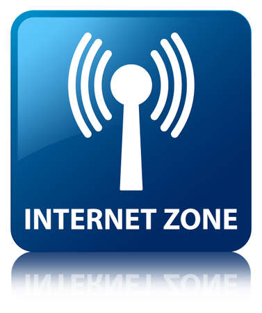 Internet zone  wlan network icon  glossy blue reflected square button photo