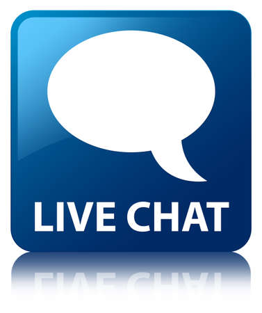 Live chat  talk bubble icon  glossy blue reflected square button photo