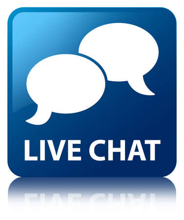 Live chat glossy blue reflected square button photo