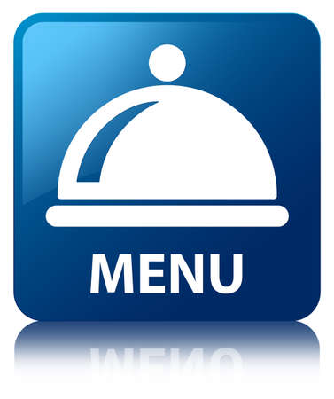 reflected: Menu  food dish icon  glossy blue reflected square button Stock Photo