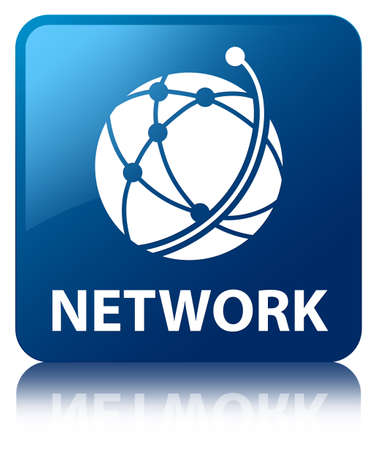 Network  global network icon  glossy blue reflected square button photo