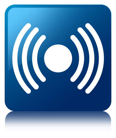 Netwrok signal icon glossy blue reflected square button Stock Photo - 22231078