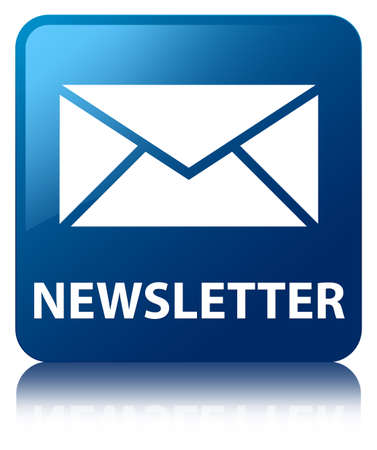 Newsletter  email icon  glossy blue reflected square button photo