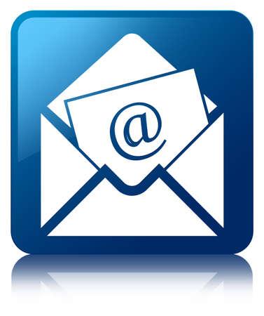 Vierkante knop nieuwsbrief pictogram glanzend blauw gereflecteerd Stockfoto