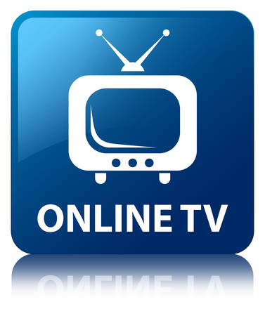 tuner: Online TV glossy blue reflected square button
