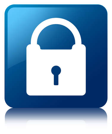 Padlock icon glossy blue reflected square button