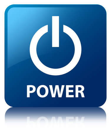 Power glossy blue reflected square button photo