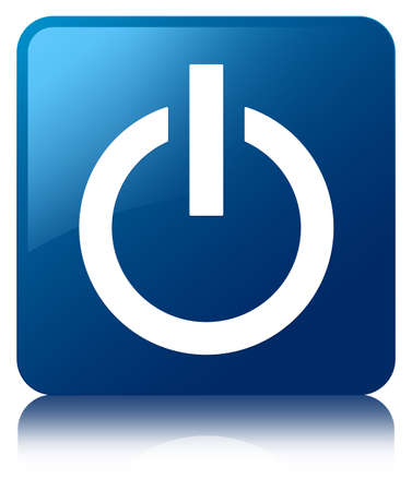 shut down: Power icon glossy blue reflected square button