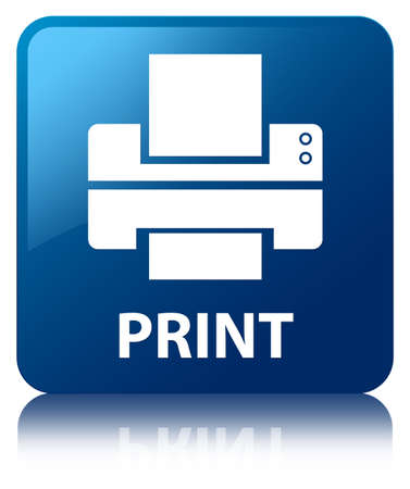 multifunction printer: Print glossy blue reflected square button Stock Photo
