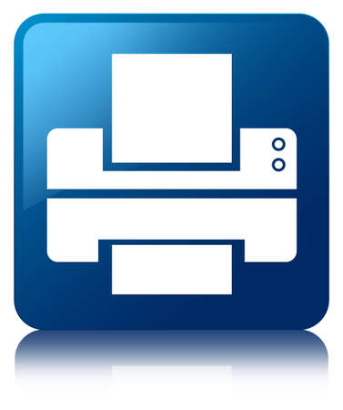 multifunction printer: Printer icon glossy blue reflected square button Stock Photo