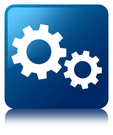 preference: Process icon glossy blue reflected square button Stock Photo