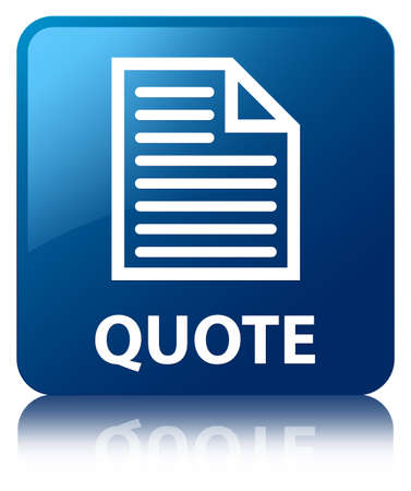 Quote  document icon  glossy blue reflected square button photo