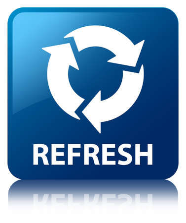 Refresh glossy blue reflected square button photo