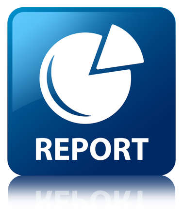 Report  graph icon  glossy blue reflected square button photo