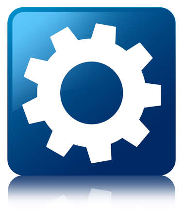 Settings icon glossy blue reflected square button