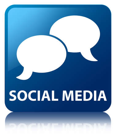 Social media  chat icon  glossy blue reflected square button photo