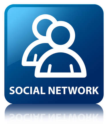 reflected: Social network  group icon  glossy blue reflected square button