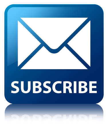 news letter: Subscribe  email icon  glossy blue reflected square button Stock Photo